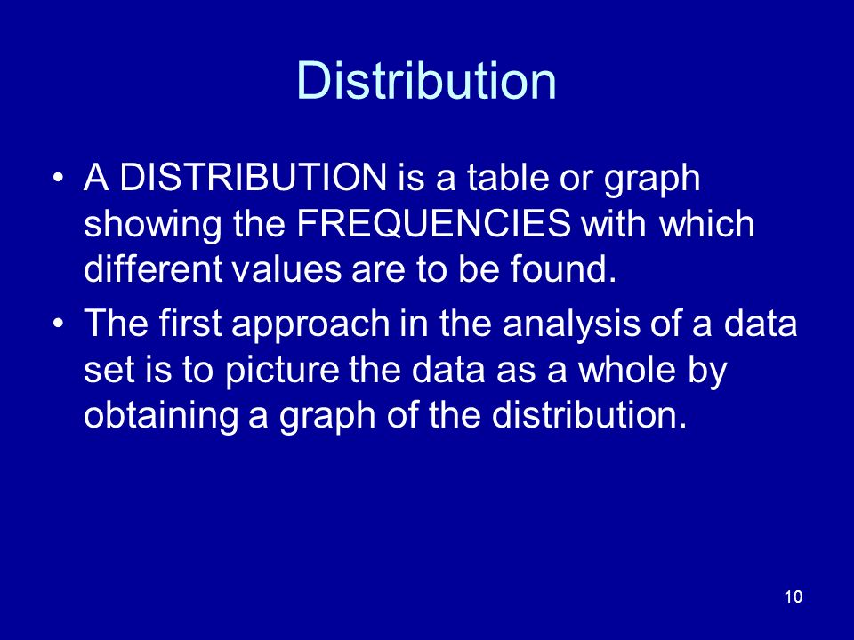 Distribution A DISTRIBUTION is a table or graph showing the FREQUENCIES with which different values are to be found.