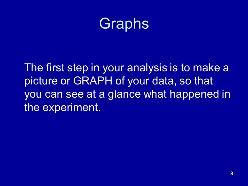 Graphs The first step in your analysis is to make a picture or GRAPH of your data, so that you can see at a glance what happened in the experiment.