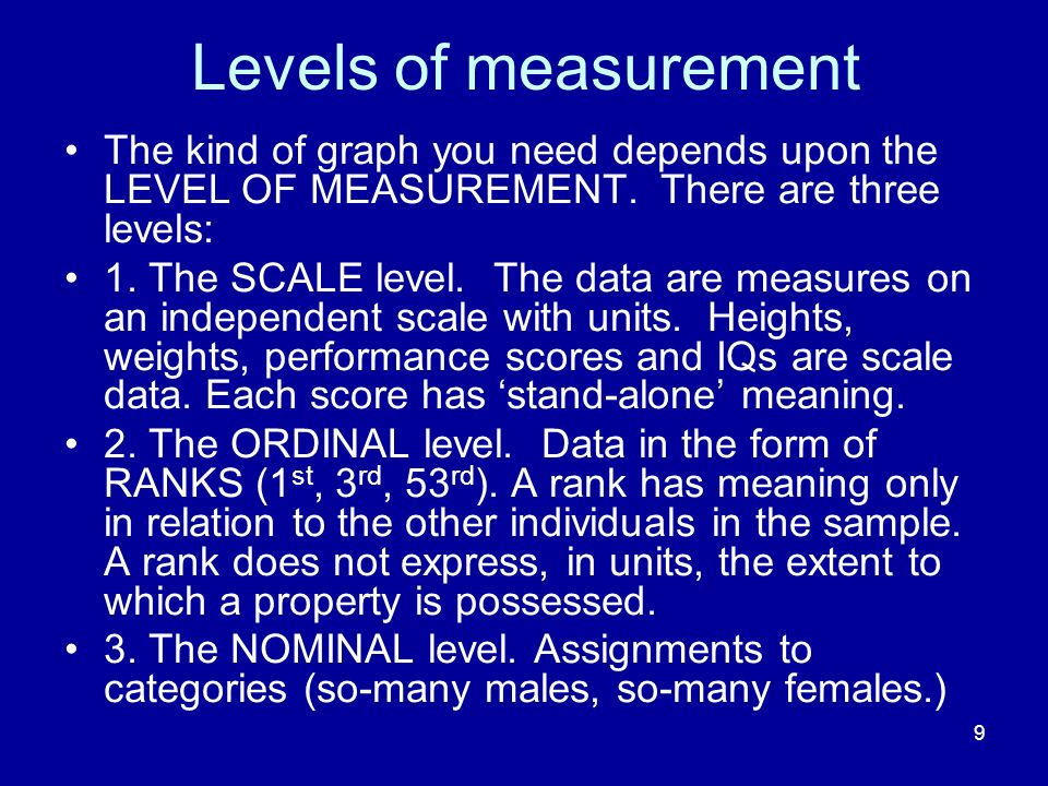 Levels of measurement The kind of graph you need depends upon the LEVEL OF MEASUREMENT. There are three levels: