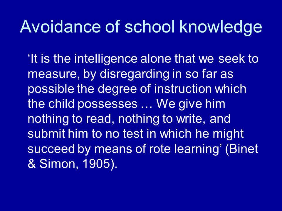 Avoidance of school knowledge