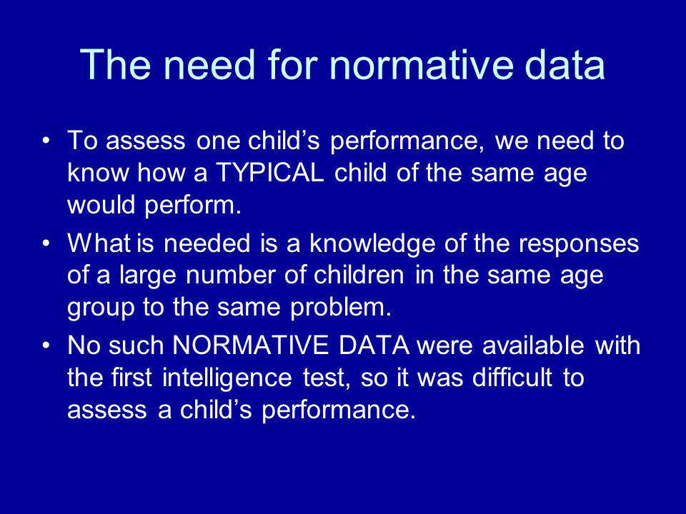 The need for normative data