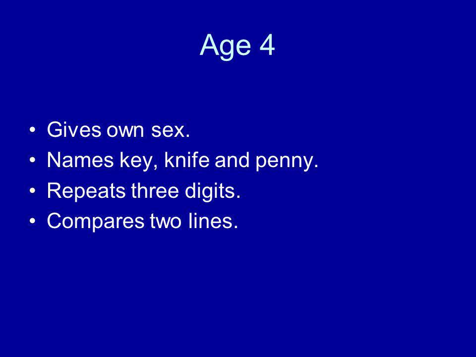 Age 4 Gives own sex. Names key, knife and penny. Repeats three digits.