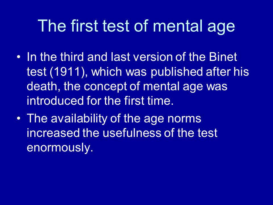 The first test of mental age