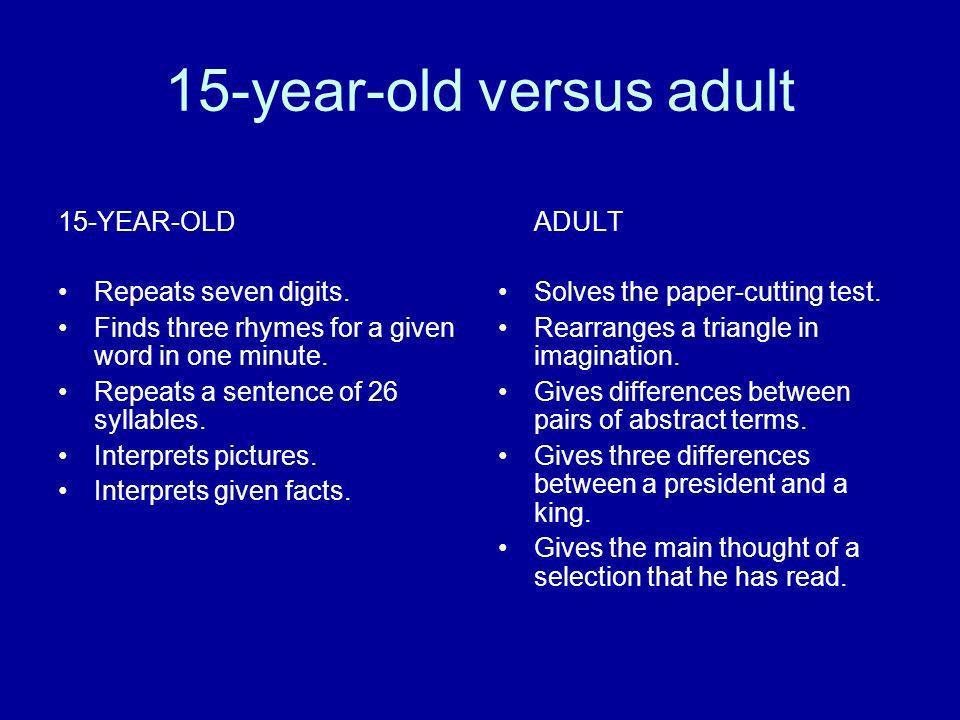15-year-old versus adult