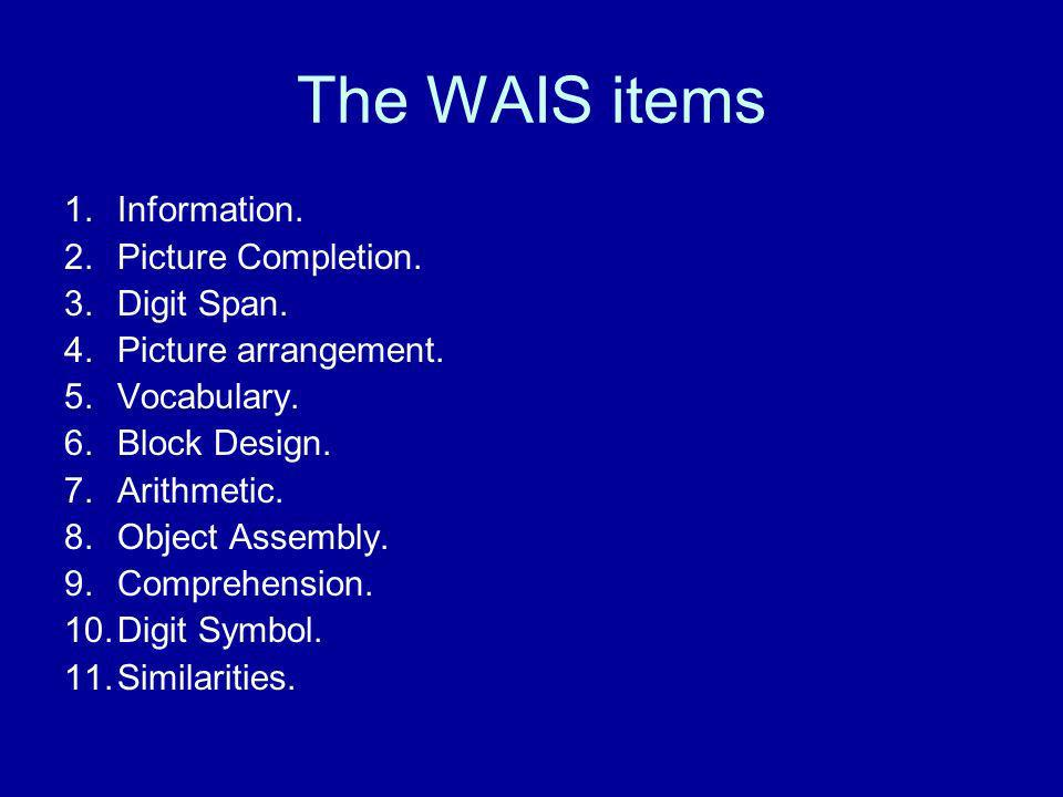 The WAIS items Information. Picture Completion. Digit Span.