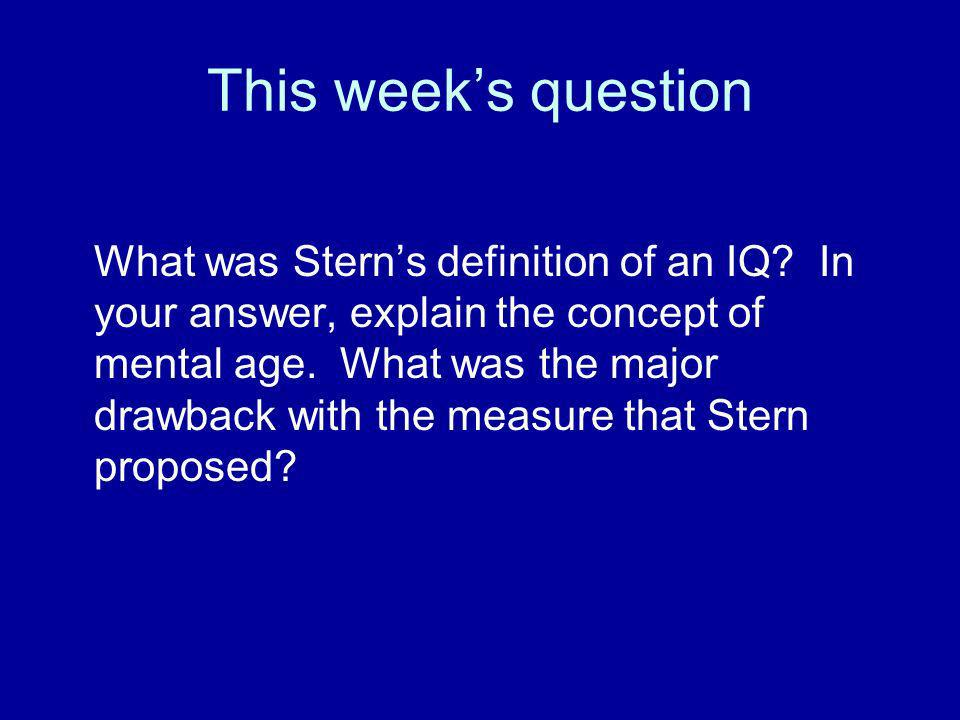 This week's question
