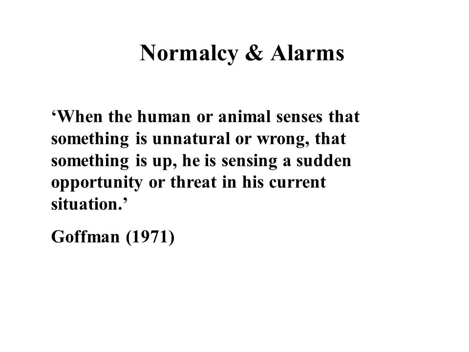 Normalcy & Alarms