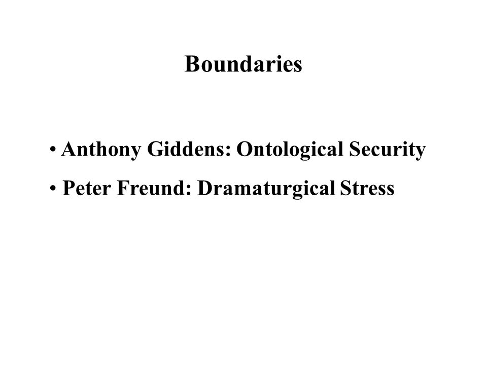 Boundaries Anthony Giddens: Ontological Security