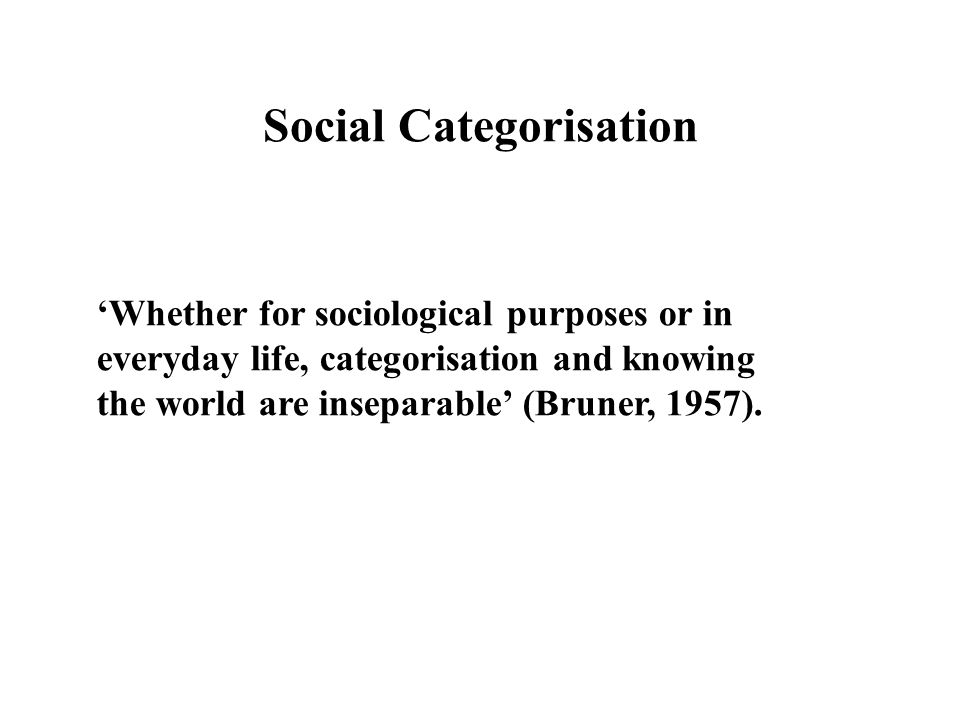 Social Categorisation
