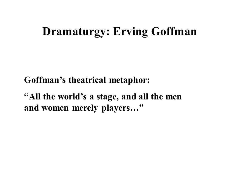 Dramaturgy: Erving Goffman