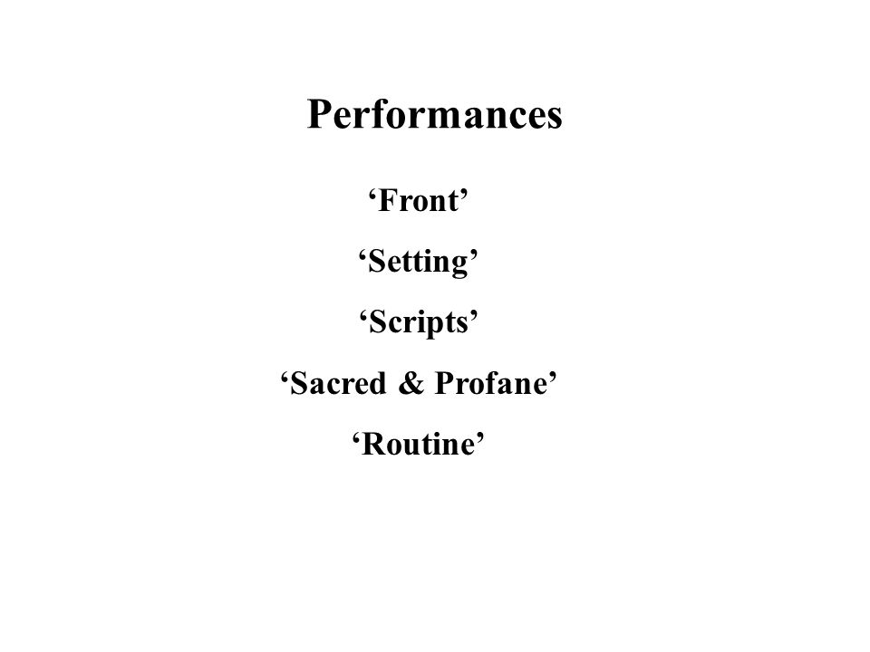 Performances 'Front' 'Setting' 'Scripts' 'Sacred & Profane' 'Routine'