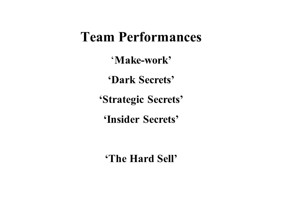 Team Performances 'Make-work' 'Dark Secrets' 'Strategic Secrets'