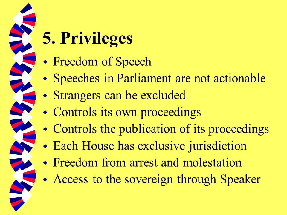 5. Privileges Freedom of Speech