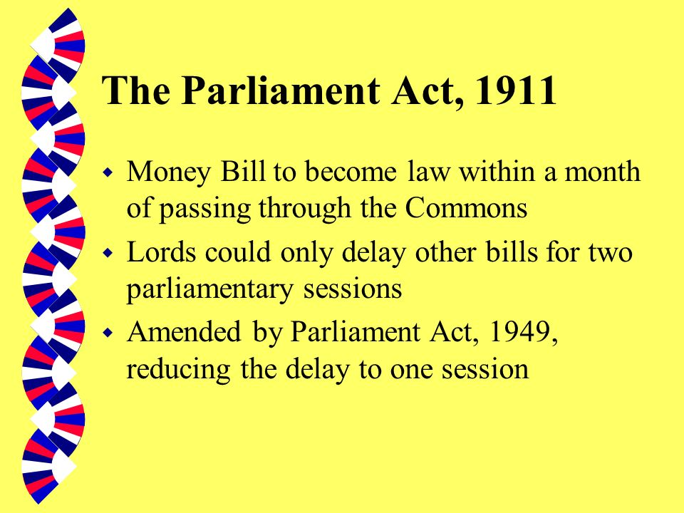 The Parliament Act, 1911 Money Bill to become law within a month of passing through the Commons.