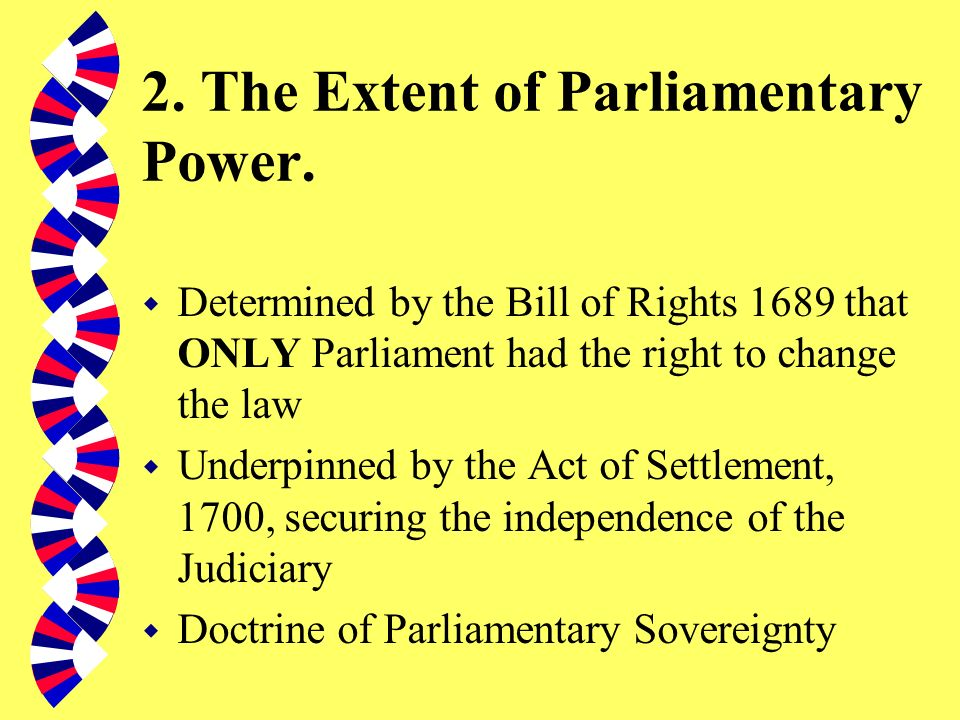 2. The Extent of Parliamentary Power.