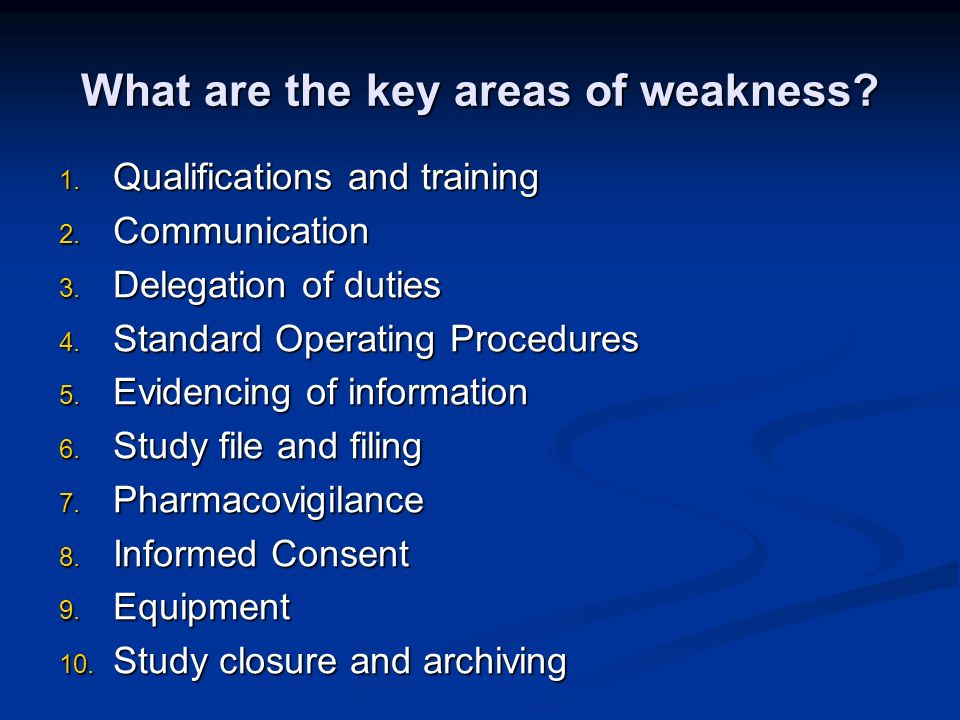 What are the key areas of weakness