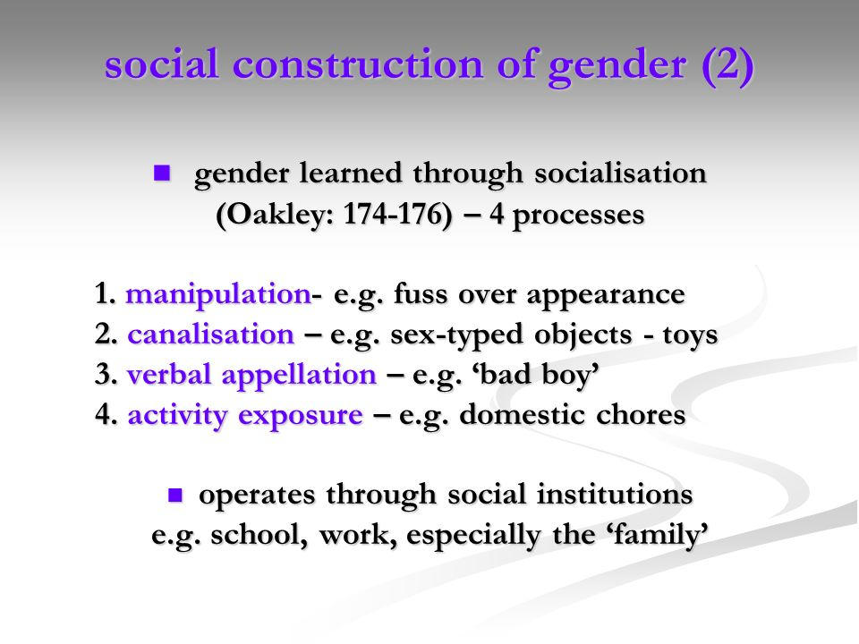 social construction of gender (2)