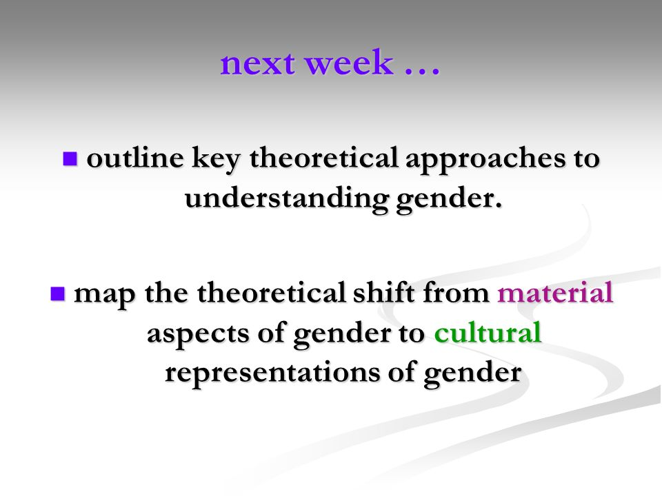outline key theoretical approaches to understanding gender.