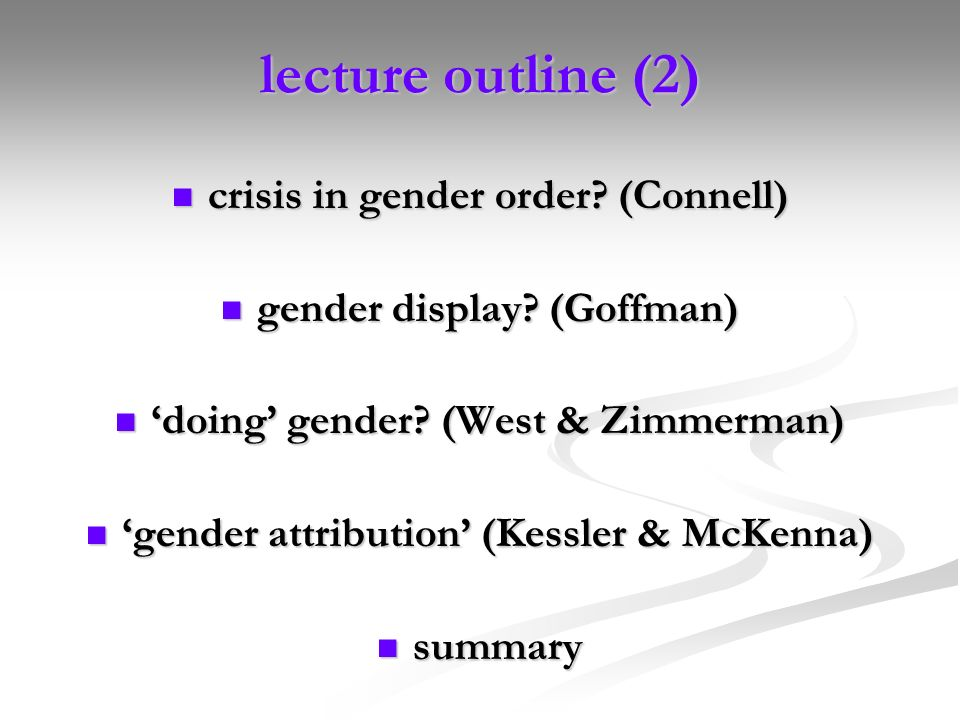 lecture outline (2) crisis in gender order (Connell)