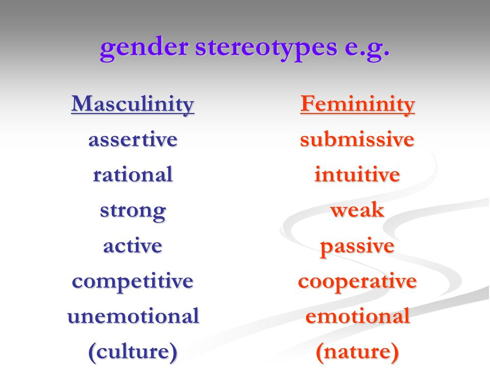 gender stereotypes e.g. Masculinity assertive rational strong active
