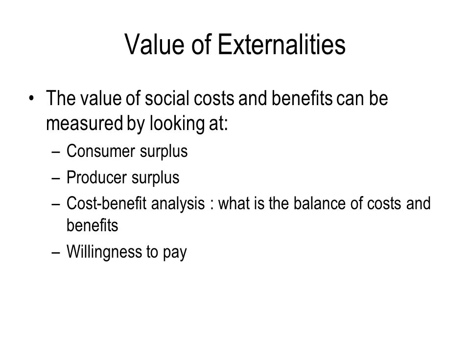 Value of Externalities