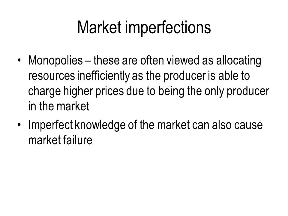 Market imperfections