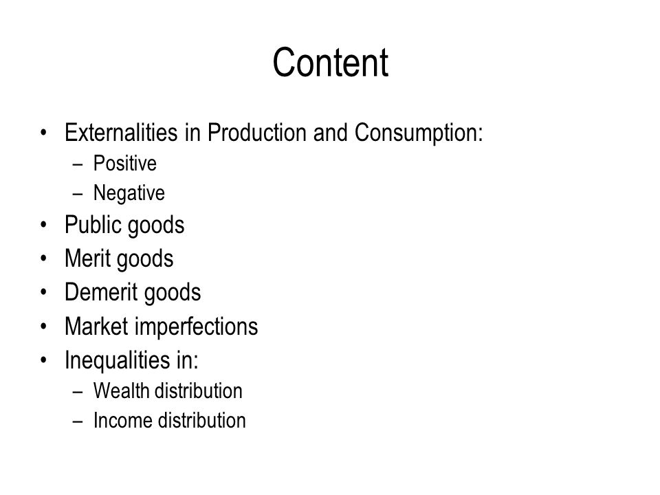 Content Externalities in Production and Consumption: Public goods