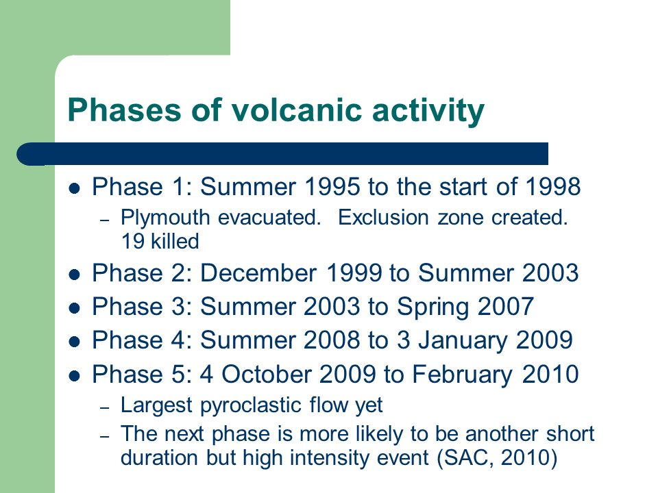 Phases of volcanic activity