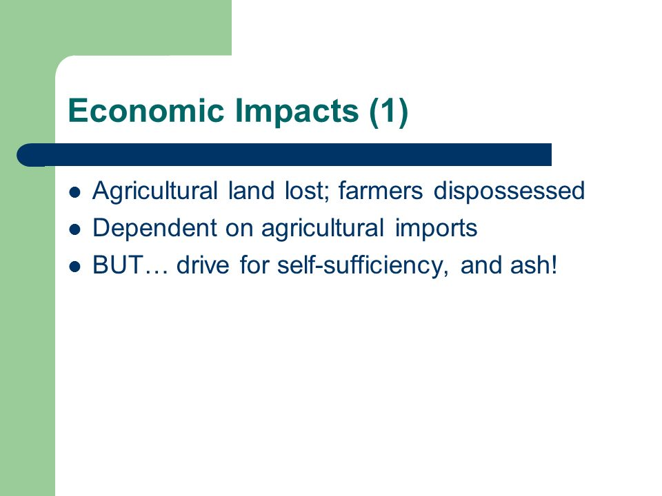 Economic Impacts (1) Agricultural land lost; farmers dispossessed
