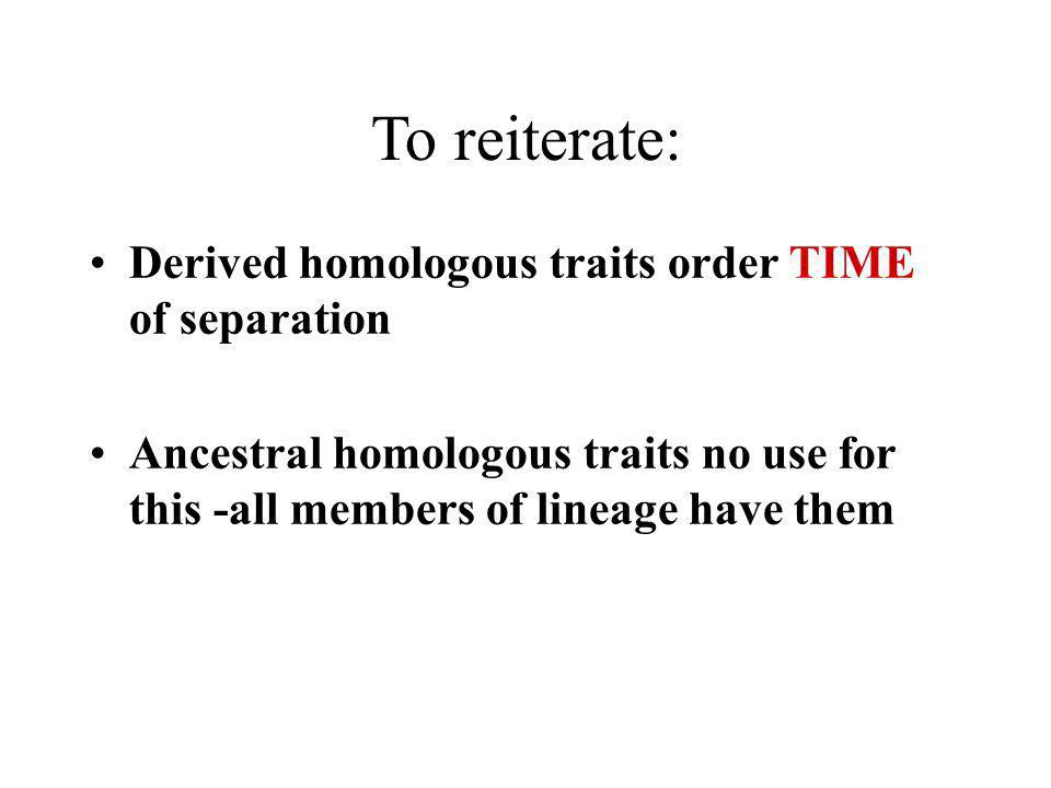 To reiterate: Derived homologous traits order TIME of separation