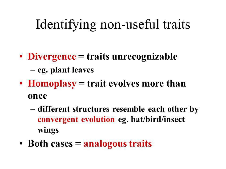 Identifying non-useful traits