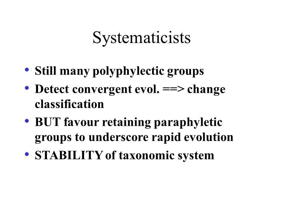 Systematicists Still many polyphylectic groups