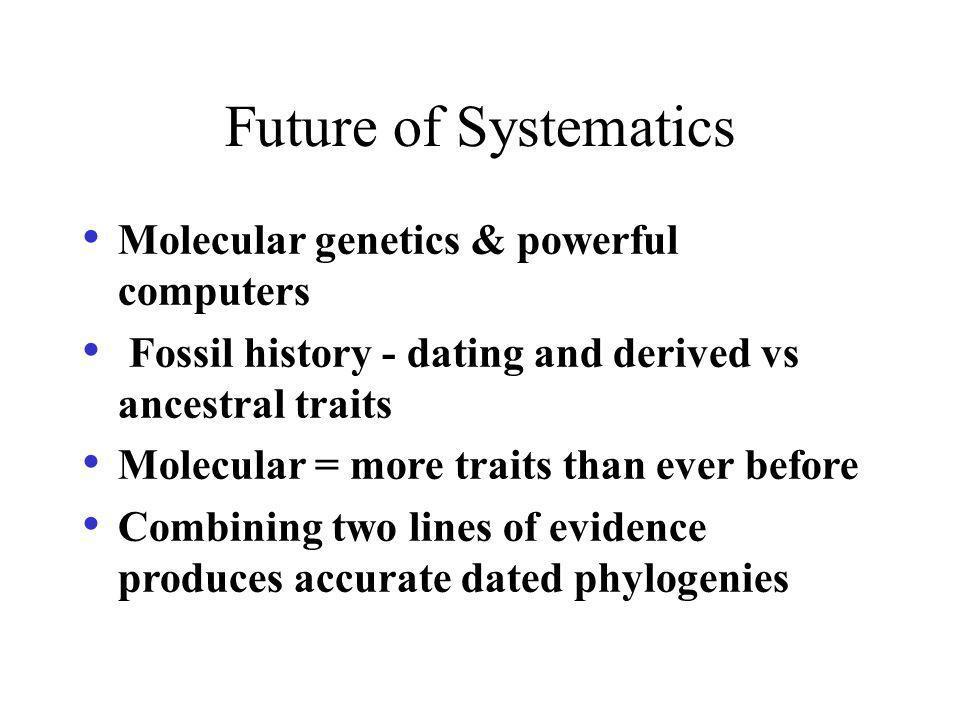 Future of Systematics Molecular genetics & powerful computers