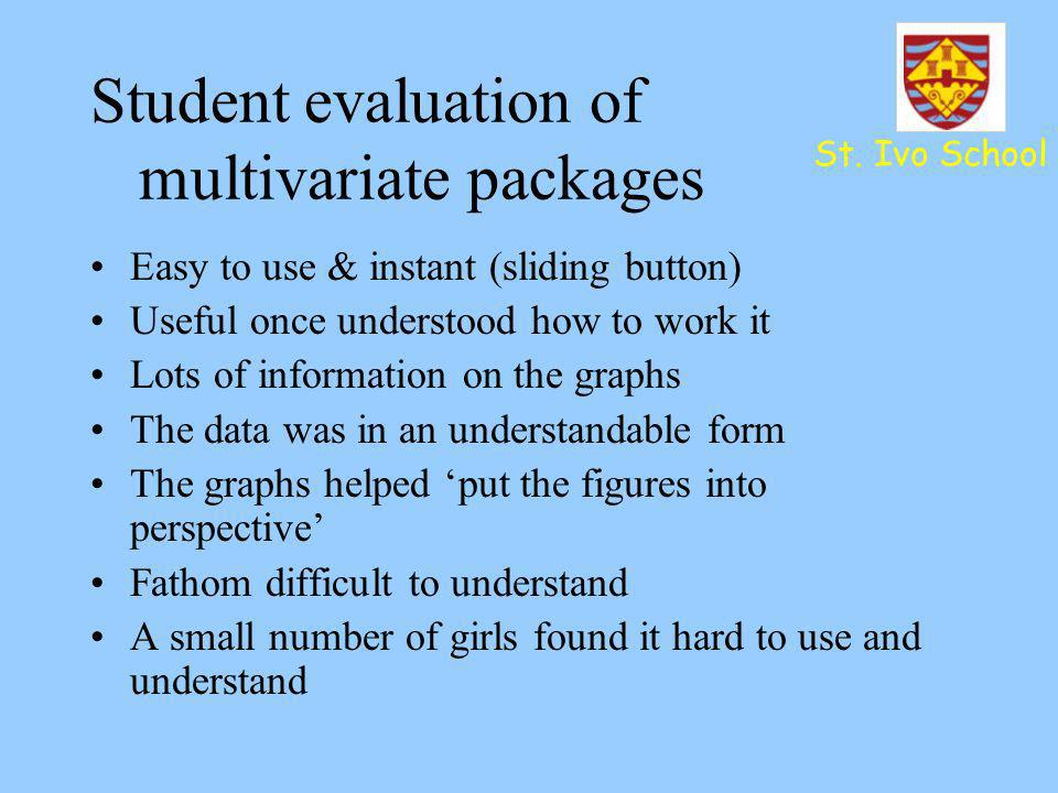 Student evaluation of multivariate packages