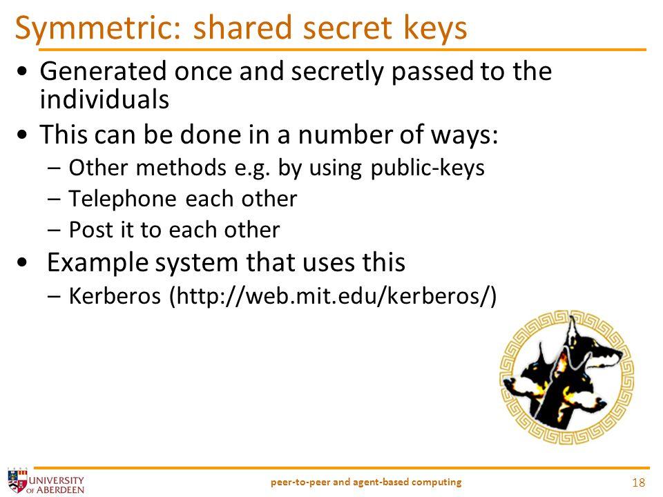 Symmetric: shared secret keys