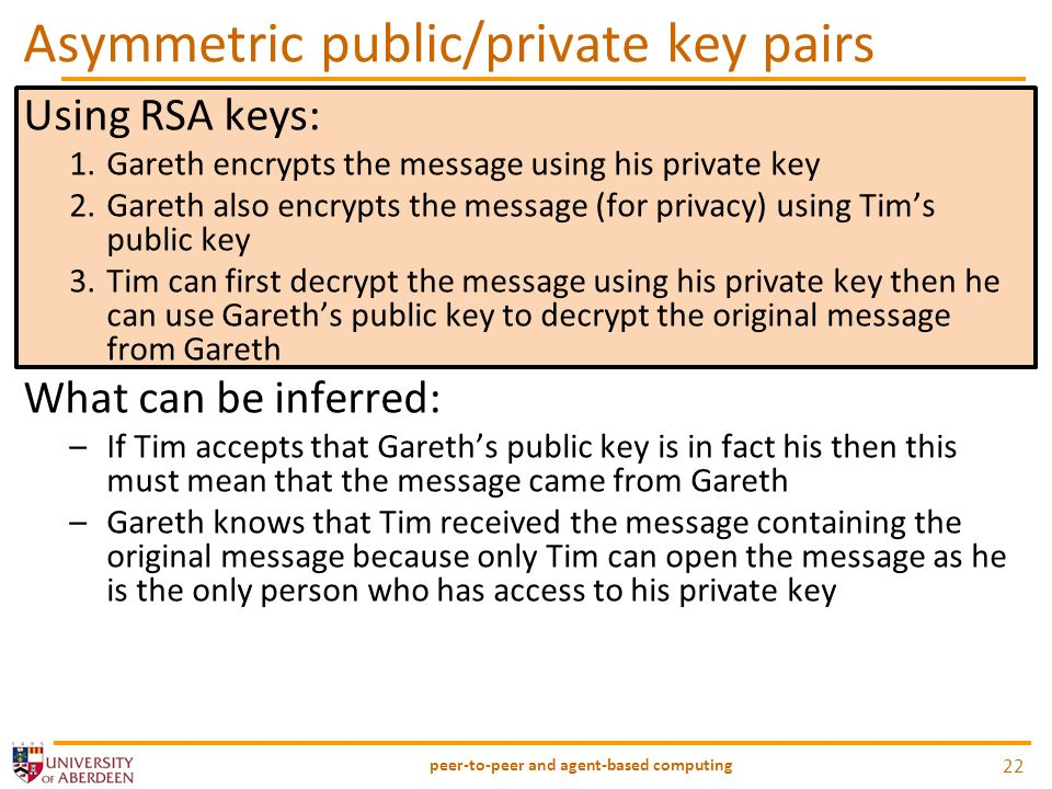 Asymmetric public/private key pairs