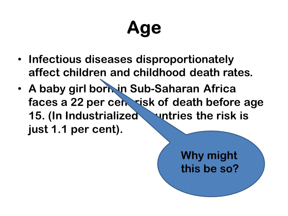 Age Infectious diseases disproportionately affect children and childhood death rates.