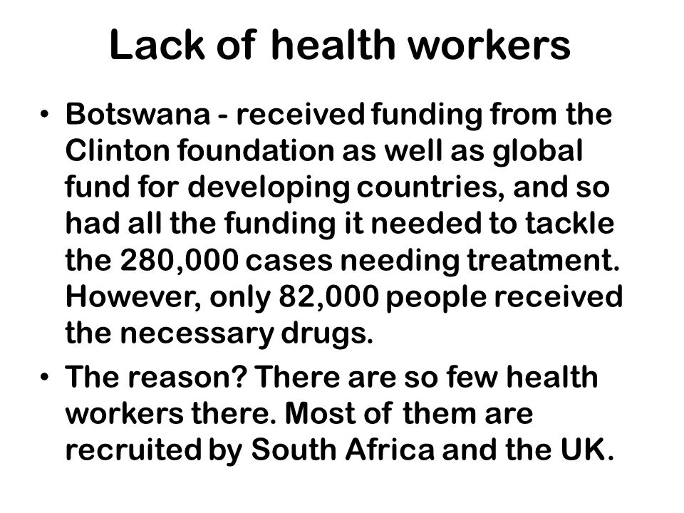 Lack of health workers