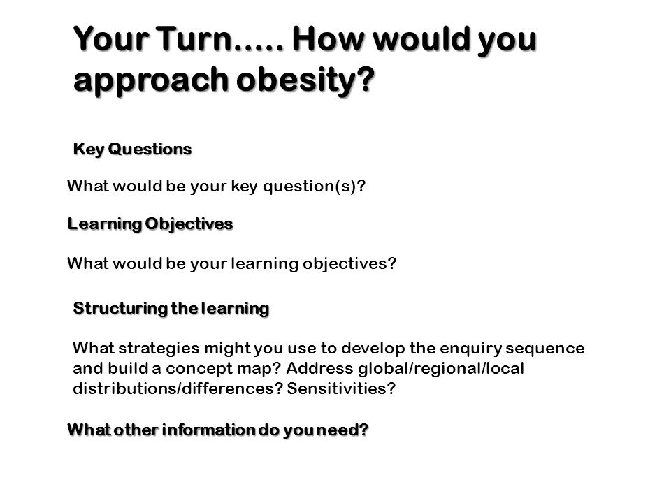 Your Turn..... How would you approach obesity