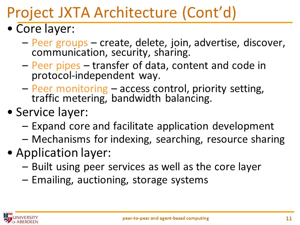 Project JXTA Architecture (Cont'd)