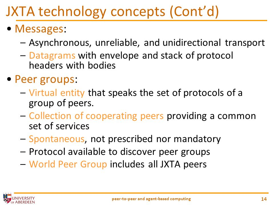 JXTA technology concepts (Cont'd)
