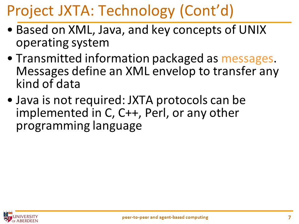 Project JXTA: Technology (Cont'd)