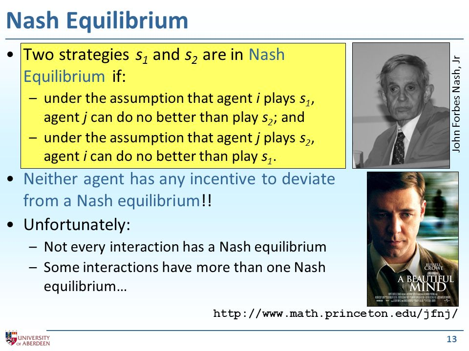 Nash Equilibrium Two strategies s1 and s2 are in Nash Equilibrium if: