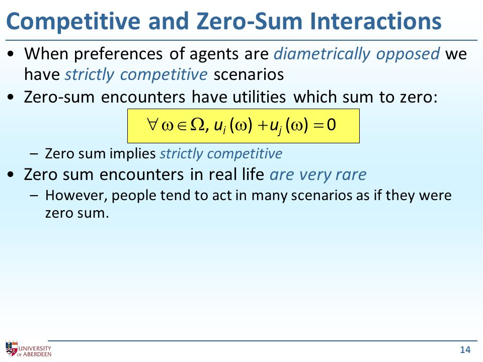 Competitive and Zero-Sum Interactions