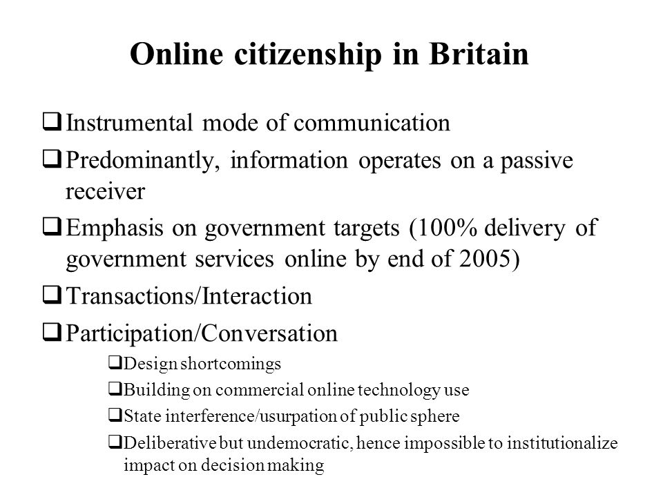 Online citizenship in Britain