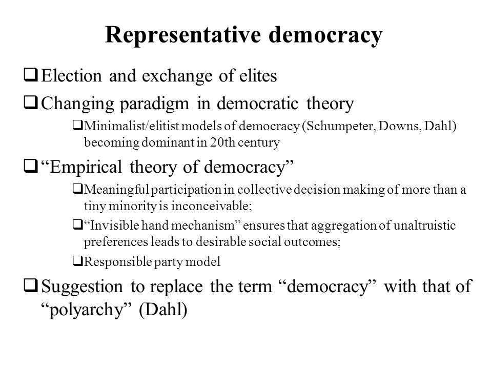 is democracy compatible with elitism The importance of being Élitist my argument is that élitism is not only compatible with democracy, it is the very essence of democracy.