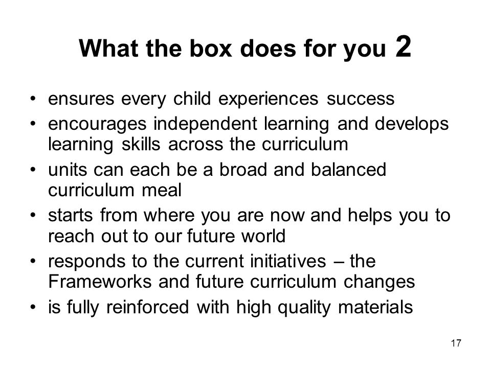 What the box does for you 2
