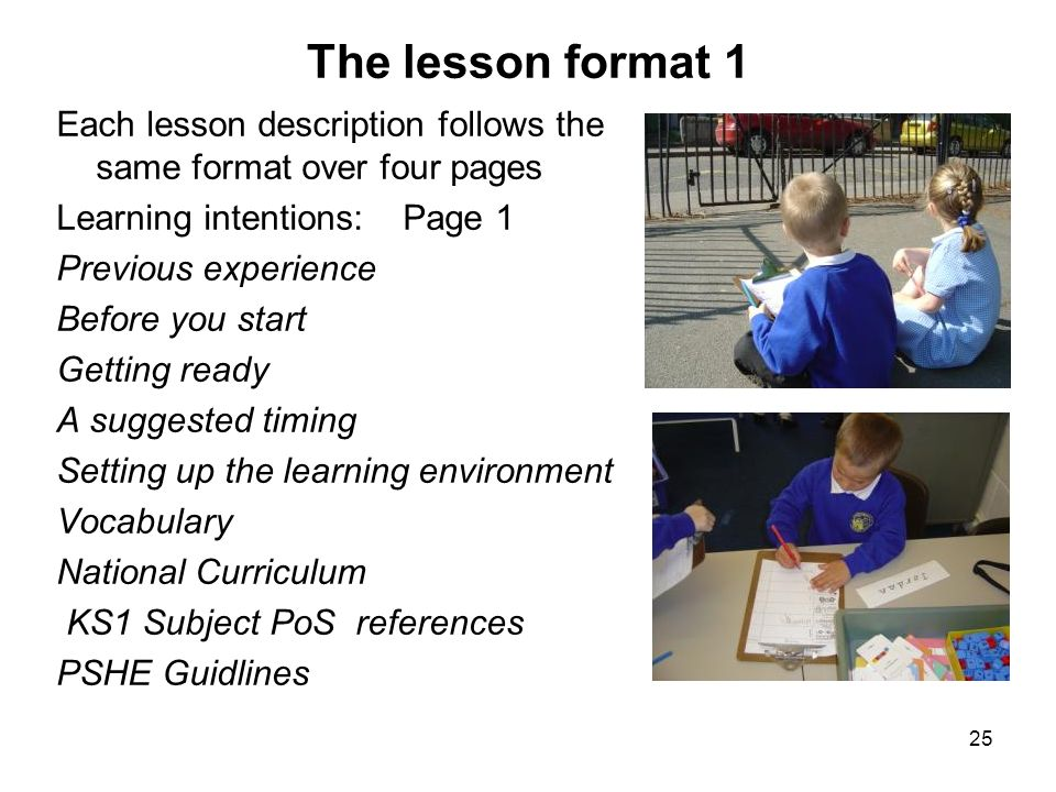 The lesson format 1 Each lesson description follows the same format over four pages. Learning intentions: Page 1.
