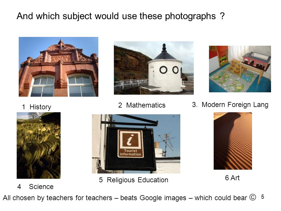 And which subject would use these photographs