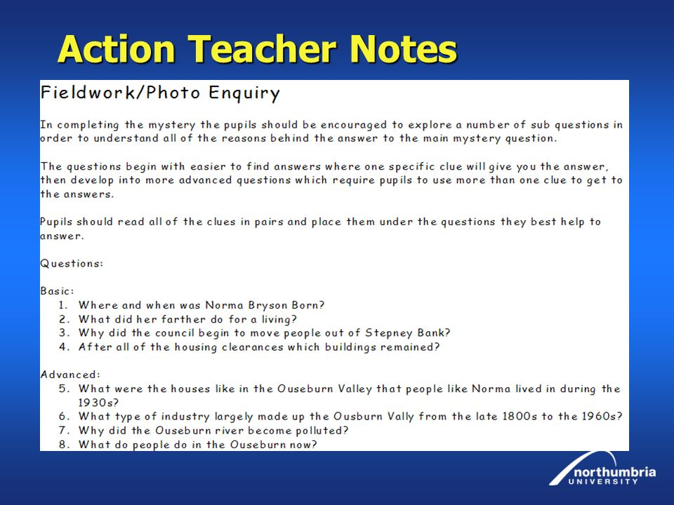 Action Teacher Notes